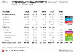 Wykres struktura cenowa inwestycji w energetykę